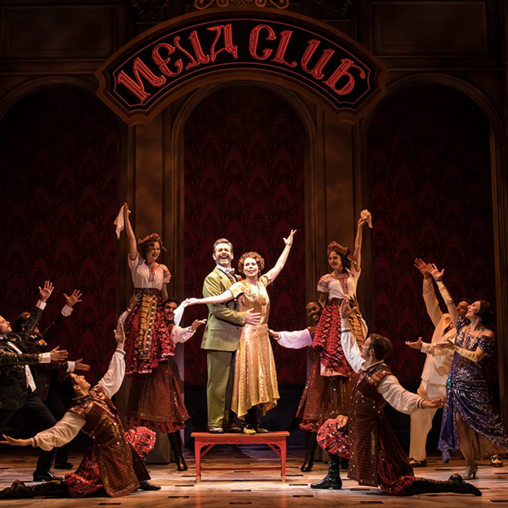 Edward Staudenmayer (Vlad), Tari Kelly (Countless Lily) and the company of the National Tour of ANASTASIA. Photo by Matthew Murphy, MurphyMade.